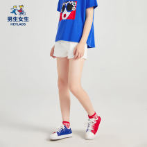 trousers Boys and girls female 120cm,130cm,140cm,150cm,160cm,170cm White, black, red summer trousers leisure time There are models in the real shooting Leggings Leather belt middle-waisted cotton Don't open the crotch Cotton 79.9% polyester 20.1% NPXAJ29563A Class B 7, 8, 14, 6, 13, 11, 10, 9, 12