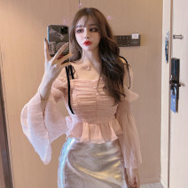 Women's large Spring 2021 Pink top blue top white top silver skirt S M L Two piece set commute Korean version Han Xi'er Other 100%
