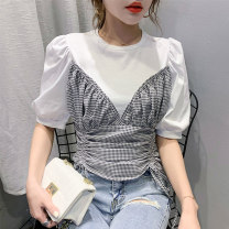 T-shirt S M L XL XXL XXXL Summer 2020 Short sleeve Crew neck Fake two pieces have cash less than that is registered in the accounts puff sleeve commute other 96% and above Korean version originality lattice Han Xi'er Pleated tie Other 100% Pure e-commerce (online only)