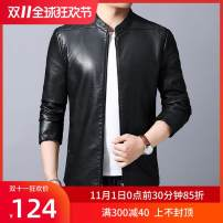 leather clothing Others Business gentleman Green, black, gray, green plush, gray plush, black plush, collection plus purchase priority delivery M 170,L 175,XL 180,2XL 185,3XL 190 routine Imitation leather clothes stand collar Slim fit zipper winter Home middle age Polyester 100% Pu Business Casual
