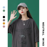 T-shirt S M L XL 2XL 3XL Spring 2021 Short sleeve Crew neck easy Regular routine street cotton 96% and above 18-24 years old originality Cartoon animation IMIG (clothing) Cotton 100% Pure e-commerce (online only) neutral