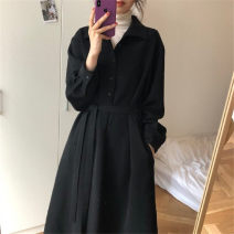 Dress Autumn 2020 Black dress black dress (plush and thickened) S M L XL longuette singleton  Long sleeves commute Polo collar High waist Solid color Single breasted other routine Others 18-24 years old Insight Korean version XJ4nm1 More than 95% other Triacetate fiber (triacetate fiber) 100%