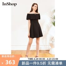 Dress Summer 2021 black S M L Middle-skirt singleton  Short sleeve commute One word collar High waist Solid color zipper A-line skirt routine 18-24 years old Type A INSHOP lady Lotus leaf edge 0421B56056 More than 95% other Other 100% Same model in shopping mall (sold online and offline)