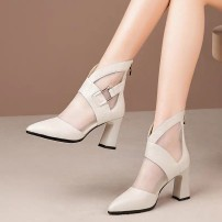 Sandals 35,36,37,38,39,40 Off white, black PU Baotou Thick heel High heel (5-8cm) Spring 2021 zipper Korean version Solid color Adhesive shoes Youth (18-40 years old), middle age (40-60 years old) rubber daily Bag heel Gao Bang PU PU Cool boots Embossed leather One point three One point three