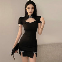 Dress Summer 2021 black S M L Short skirt singleton  Short sleeve commute stand collar High waist Solid color zipper One pace skirt routine 25-29 years old Touwen Korean version Bow cut zipper DX8160 More than 95% polyester fiber Polyester fiber 95% polyvinyl chloride (PVC) 5%
