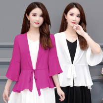 Lace / Chiffon Summer 2021 Green white blue purplish red black pink scarlet XL 2XL 3XL 4XL 5XL elbow sleeve commute Cardigan singleton  Self cultivation have cash less than that is registered in the accounts V-neck Solid color pagoda sleeve 40-49 years old Zhenfei (clothing) 20003 pure color