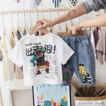 suit Other / other White T-shirt + Xiaohuangren pants , Black T-shirt wave + Xiaohuangren pants , Orange Sesame Street , White Sesame Street , Green Sesame Street , White single T-shirt , Black one piece T-shirt 80cm,90cm,100cm,110cm,120cm,130cm,140cm male summer 3 months