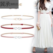Belt / belt / chain Double skin leather Silver buckle Khaki silver buckle white silver buckle Pink Silver Buckle Red Silver Buckle Black Gold Buckle White Gold Buckle Black female belt Simplicity Single loop Children, youth, middle age and old age a hook Geometric pattern Glossy surface 1cm alloy no