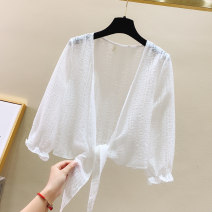 Lace / Chiffon Summer 2021 White purple S M L XL XXL Long sleeves commute Cardigan singleton  easy Regular V-neck Solid color routine 18-24 years old Sweet Poetry nrjE326-306-1 Frenulum Simplicity New polyester fiber 100% Pure e-commerce (online only)
