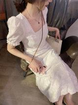 Dress Summer 2020 White short white long XS S M L Mid length dress Short sleeve commute square neck High waist zipper Ruffle Skirt puff sleeve 18-24 years old Mu Waner Korean version More than 95% other Other 100%