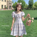 Dress Spring 2021 824 purple 824 blue green 824 red M L XL XXL longuette singleton  Short sleeve commute square neck High waist lattice Socket A-line skirt puff sleeve 18-24 years old Type A Lingan Lingyu bow More than 95% other Other 100%