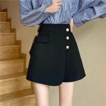 Casual pants black XL,2XL,L,4XL,3XL,M Spring 2021 shorts Wide leg pants High waist commute routine other Korean version zipper Asymmetry