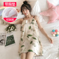 Nightdress Manfan Jingxin M L XL XXL Sweet camisole Leisure home Middle-skirt summer Cartoon animation youth One word collar Polyester (polyester) printing More than 95% BA055 Summer 2021 Other 100% Pure e-commerce (online only)
