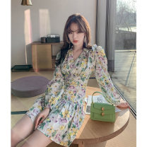Dress Spring 2021 Perfume lily, short skirt, perfume lily dress S M L XL Short skirt singleton  Long sleeves commute V-neck High waist Broken flowers Socket A-line skirt routine Others 18-24 years old Type A Pure phenanthrene Korean version printing D3N2014 More than 95% Chiffon other Other 100%