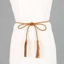 Belt / belt / chain other Khaki Dark Green Camel black female Waist chain grace Single loop youth bow Braided fringe bow Shipaidi Z102 160cm Spring of 2019