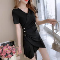 Women's large Summer 2020 L XL S M Dress singleton  commute Short sleeve Solid color Korean version V-neck other routine Mugery / muger 18-24 years old Diamond inlay 96% and above Medium length Other 100.00% Irregular skirt