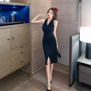 Dress Spring 2021 black S M L Miniskirt singleton  Sleeveless commute V-neck High waist Solid color Socket A-line skirt Hanging neck style 18-24 years old Jane golly Retro JGL-YJ3141 More than 95% other Other 100% Pure e-commerce (online only)