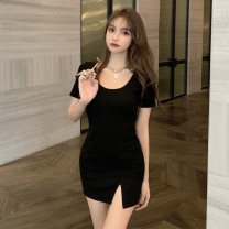 Dress Summer 2021 Grey black Average size Short skirt singleton  Short sleeve commute Crew neck High waist Solid color A-line skirt routine Others 18-24 years old Type A Jane golly Retro JGL-XL624 More than 95% other Other 100% Pure e-commerce (online only)