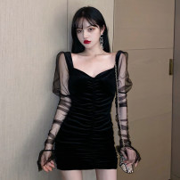 Dress Summer 2021 black Average size Short skirt singleton  Long sleeves commute V-neck High waist Solid color A-line skirt routine Others 18-24 years old Type A Jane golly Retro JGL-BL5567 More than 95% other Other 100% Pure e-commerce (online only)