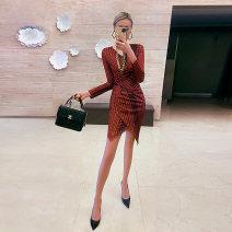 Dress Spring 2021 Pre sale as shown XS S M L XL Short skirt singleton  Long sleeves commute V-neck High waist stripe Socket A-line skirt routine 25-29 years old nava moda N21CQ3150 81% (inclusive) - 90% (inclusive) polyester fiber