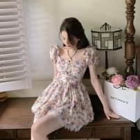 Dress Summer 2021 Short skirt singleton  Short sleeve commute square neck Broken flower High waist Condom 18-24 years old A-line skirt routine More than 95% other Type A Other 8902 Retro Linglian Other 100% Pure e-commerce (online sales only) S M L