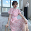 Dress Summer 2021 Pink S M L XL Mid length dress singleton  Short sleeve Sweet stand collar High waist Broken flowers Socket A-line skirt puff sleeve 25-29 years old Type A PA yuan Patchwork button print p9029 81% (inclusive) - 90% (inclusive) Chiffon other New polyester 90% viscose 10%