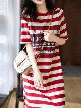 Dress Summer 2021 Red and black S M L XL 2XL 3XL Mid length dress singleton  Short sleeve commute Crew neck middle-waisted stripe Socket One pace skirt routine Others 25-29 years old Type H AMAQ Korean version A000054Q More than 95% other Other 100% Pure e-commerce (online only)
