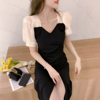 Dress Summer 2021 Black long black short S M L XL longuette singleton  Short sleeve commute V-neck High waist Solid color Socket A-line skirt routine Others 25-29 years old Type A AMAQ Korean version Splicing A000304Q-DY More than 95% other Other 100% Pure e-commerce (online only)