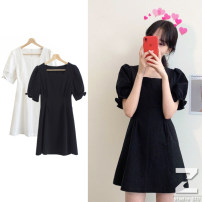 Dress Summer 2021 White, black S,M,L,XL Short skirt singleton  Short sleeve commute square neck High waist Solid color zipper A-line skirt puff sleeve Type A Other / other cotton