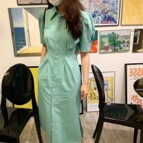 Dress Spring 2021 Green dress S M L longuette singleton  Short sleeve commute Polo collar High waist Solid color Single breasted A-line skirt routine 18-24 years old Type A Shenmu (clothing) Button More than 95% polyester fiber Polyester 100% Pure e-commerce (online only)