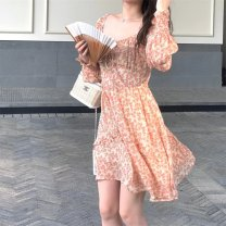 Dress Spring 2021 Floral Dress S M L Middle-skirt singleton  Long sleeves commute square neck High waist Broken flowers Socket A-line skirt routine 18-24 years old Type A Shenmu (clothing) printing More than 95% other polyester fiber Polyester 100% Pure e-commerce (online only)