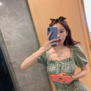 Dress Summer 2021 Green blue S M L Short skirt singleton  Short sleeve commute square neck High waist lattice zipper A-line skirt puff sleeve 18-24 years old The boundless world Korean version More than 95% other Other 100% Pure e-commerce (online only)