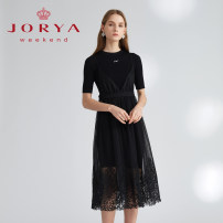 Dress Spring 2021 Black, white S,M,L Mid length dress singleton  elbow sleeve Crew neck High waist Single breasted A-line skirt routine 25-29 years old Type X JORYA weekend Splicing More than 95% other