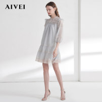 Dress Spring 2021 Grey, orange S,M,L Short skirt singleton  three quarter sleeve Sweet stand collar Loose waist Solid color Socket other bishop sleeve 25-29 years old AIVEI Splicing M0160037 More than 95% polyester fiber