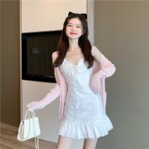 Women's large Summer 2021 [one piece] pink sunscreen cardigan [one piece] white suspender dress [two piece suit] suspender skirt + cardigan S M Dress Two piece set commute Self cultivation Socket Solid color Korean version V-neck routine 4877sd Tact 18-24 years old Lace stitching Short skirt bow