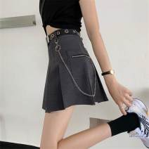 skirt Winter 2020 S M L Black dark grey Short skirt Versatile High waist Pleated skirt Solid color Type A 18-24 years old More than 95% other polyester fiber Polyester 100%