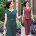 Fashion suit Summer 2021 M L XL XXL 3XXL 4XXL Green [two piece set] red [two piece set] Over 35 years old Pinduofen PDFDW-MMZ/100Z 96% and above polyester fiber Polyester 100% Pure e-commerce (online only)