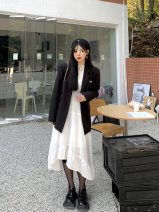 Dress Spring 2021 White, white (8-10 working days in advance) M,L,XL,2XL Mid length dress singleton  Long sleeves commute Doll Collar middle-waisted houndstooth  Single breasted Ruffle Skirt other Others 18-24 years old Type A Lotus leaf edge 98224L0580 More than 95% other polyester fiber