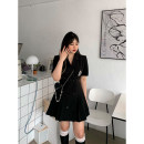 Dress Spring 2021 Black, white, purple, pink, black (8-12 working days in advance) M,L,XL,2XL Mid length dress singleton  Short sleeve street tailored collar High waist Solid color Single breasted A-line skirt routine Others 18-24 years old Type A More than 95% brocade cotton