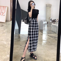 Women's large Summer 2021 Black T-shirt plaid skirt black T-shirt + plaid skirt S M L XL skirt Two piece set commute Self cultivation thin Short sleeve lattice Ol style polyester fiber routine Cheng Biao 18-24 years old zipper longuette Other 100% Same model in shopping mall (sold online and offline)