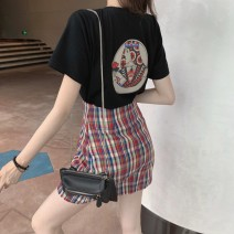 Women's large Summer 2021 Black T-shirt + skirt black T-shirt skirt S M L XL Dress Two piece set commute Self cultivation thin Short sleeve Cheng Biao 18-24 years old Short skirt Other 100% Same model in shopping mall (sold online and offline) Pleated skirt