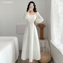 Dress Spring 2021 White, black, red S M L XL 2XL longuette singleton  Long sleeves commute square neck High waist Solid color Socket A-line skirt routine Others 25-29 years old Type A Yueshiti Korean version pocket Yst6660 Hepburn dress More than 95% brocade other Other 100%