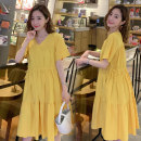 Dress Warm duck Yellow pink violet water blue M L XL XXL Korean version Short sleeve Medium length summer V-neck Solid color Pure cotton (95% and above) NY-9025-42