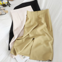 skirt Summer 2021 S,M,L,XL Off white, black, yellow, green, brick red Middle-skirt commute High waist skirt Solid color Type H 25-29 years old More than 95% other silk zipper Korean version