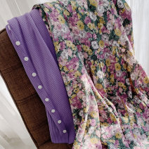 skirt Spring 2021 M,L,XL Pink, purple longuette commute High waist Splicing style Decor Type H 25-29 years old More than 95% Chiffon Ocnltiy other Splicing Korean version