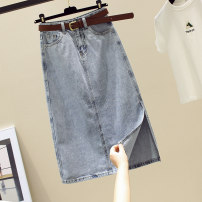 skirt Summer 2021 S,M,L,XL Blue, black and gray longuette commute High waist A-line skirt Solid color Type A More than 95% Denim Ocnltiy pocket Korean version