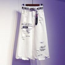 skirt Summer 2021 S [90-100kg], m [100-110kg], l [110-120kg], XL [120-135kg], 2XL [135-150kg], 3XL [150-165kg], 4XL [165-175kg], 5XL [175-200kg] White 8848 collection belt + Pendant longuette commute High waist A-line skirt letter Type A 18-24 years old More than 95% Denim Ocnltiy Korean version