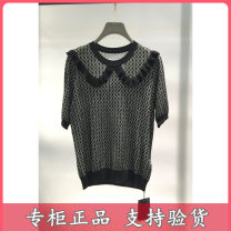 Wool knitwear Summer 2021 XS,S,M,L,XL 33 green, 99 black Short sleeve singleton  Socket other 30% and below Regular routine commute Self cultivation Low crew neck routine Socket 18-24 years old Tricolor Sticking cloth