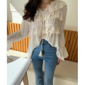 shirt White, black Average size Summer 2020 cotton 91% (inclusive) - 95% (inclusive) Long sleeves commute Regular V-neck Frenulum pagoda sleeve Solid color 25-29 years old Self cultivation Korean version