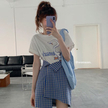 Women's large Summer 2020 Skirt (one piece) S M L XL XXL skirt singleton  commute Self cultivation lattice Korean version Polyester cotton Chloroprene printing and dyeing R220 Ping dress 18-24 years old Asymmetry Short skirt Polyester 65% Cotton 30% polyurethane elastic fiber (spandex) 5%